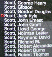 Memorial– Flight Sergeant Jack Kyle Scott is commemorated on the Bomber Command Memorial Wall in Nanton, AB … photo courtesy of Marg Liessens