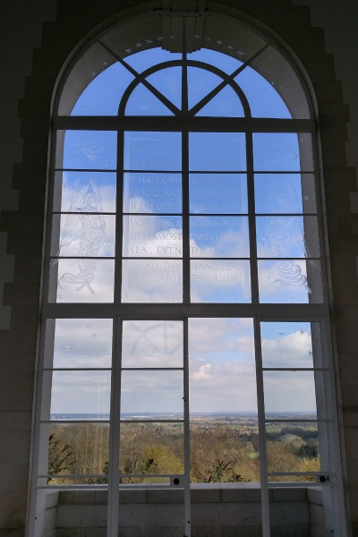 Runnymede Memorial– A large arched window - the great north window - is engraved with the words from the 139th Psalm, sometimes called the Airman's Psalm - Runnymede Memorial - April 2017 … photo courtesy of Marg Liessens  If I climb up into Heaven, Thou art there; If I go to Hell, Thou art there also. If I take the wings of the morning And remain in the uttermost parts of the sea, Even there also shall Thy hand lead me; And Thy right hand shall hold me.