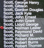 Memorial– Pilot Officer Norman Lester William Scott is commemorated on the Bomber Command Memorial Wall in Nanton, AB … photo courtesy of Marg Liessens