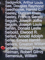 Memorial– Sergeant William Francis Philip Sellers is commemorated on the Bomber Command Memorial Wall in Nanton, AB … photo courtesy of Marg Liessens