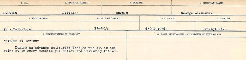 Circumstances of death registers– Source: Library and Archives Canada. CIRCUMSTANCES OF DEATH REGISTERS, FIRST WORLD WAR. Surnames: Don to Drzewiecki. Microform Sequence 29; Volume Number 31829_B016738. Reference RG150, 1992-93/314, 173. Page 695 of 1076.