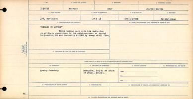 Circumstances of death registers– Private Charles Morris Gray