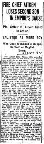 Newspaper Clipping– Source: London Advertiser 1918