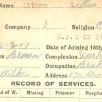 Record of Service– Record of Service Card (front side).  Submitted by permission 48th Highlanders of Canada Regimental Museum by 15th Bn Memorial Project Team.