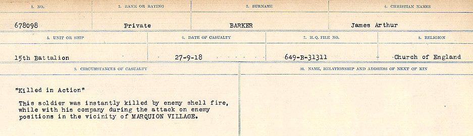 Circumstances of Death Registers– Source: Library and Archives Canada.  CIRCUMSTANCES OF DEATH REGISTERS, FIRST WORLD WAR Surnames:  Bark to Bazinet. Mircoform Sequence 6; Volume Number 31829_B016716. Reference RG150, 1992-93/314, 150.  Page 31 of 1058.