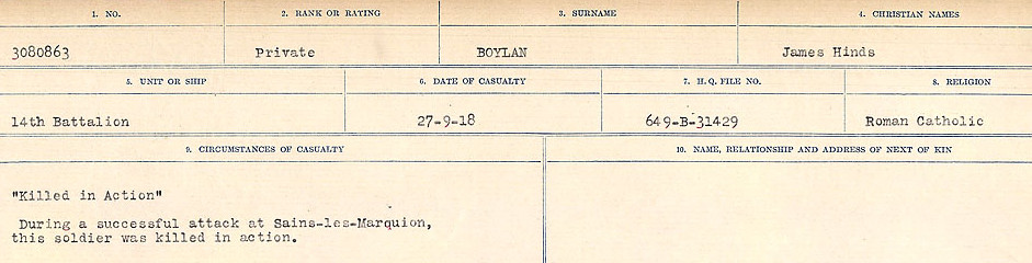 Circumstances of Death Registers– Source: Library and Archives Canada.  CIRCUMSTANCES OF DEATH REGISTERS FIRST WORLD WAR Surnames: Border to Boys. Mircoform Sequence 12; Volume Number 131829_B016721; Reference RG150, 1992-93/314, 156 Page 867 of 934.