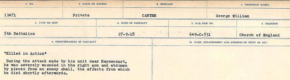 Circumstances of Death Registers– Source: Library and Archives Canada.  CIRCUMSTANCES OF DEATH REGISTERS, FIRST WORLD WAR Surnames:  Canavan to Caswell. Microform Sequence 18; Volume Number 31829_B016727. Reference RG150, 1992-93/314, 162.  Page 697 of 1004.