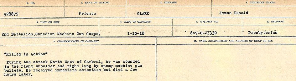 Circumstances of Death Registers– Source: Library and Archives Canada.  CIRCUMSTANCES OF DEATH REGISTERS, FIRST WORLD WAR Surnames:  CHILD TO CLAYTON.  Microform Sequence 20; Volume Number 31829_B016729. Reference RG150, 1992-93/314, 164.  Page 605 of 1068.