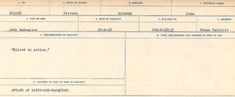 Circumstances of death registers– Source: Library and Archives Canada. CIRCUMSTANCES OF DEATH REGISTERS, FIRST WORLD WAR. Surnames: Don to Drzewiecki. Microform Sequence 29; Volume Number 31829_B016738. Reference RG150, 1992-93/314, 173. Page 171 of 1076.