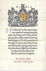 Parchemin Commémoratif – Commemorative scroll - William Ross