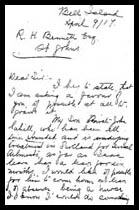 Letter to R.H. Bennett - page 1– Martin Cahill has died at this point, as mentioned in this letter. In this correspondence to military officials, his mother, Mary Ellen (Cahill) Sweeney, asks to have John, her other son, released into her care, after being wounded.