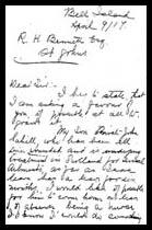 Lettre à R.H. Bennett - page 1 – Martin Cahill était décédé à ce moment-là, comme le décrit cette lettre. Dans cette correspondance aux officiers militaires, sa mère, Mary Ellen (Cahill) Sweeney, demande que son fils John, soit remis à son soin après avoir été blessé.