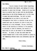 Letter (reply)– This is the reply from the Colonial Secretary to Mary Ellen Cahill's letter.