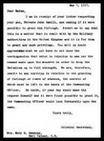 Lettre (réponse) – Voici la réponse du Secrétaire des Colonies à la lettre de Mary Ellen Cahill.