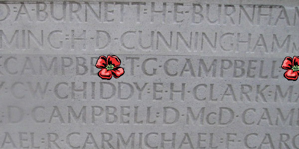 Memorial– Inscription - Vimy Memorial … Corporal Thomas George Campbell is also commemorated on the Vimy Memorial, Pas de Calais, France ,,, photo courtesy of Marg Liessens