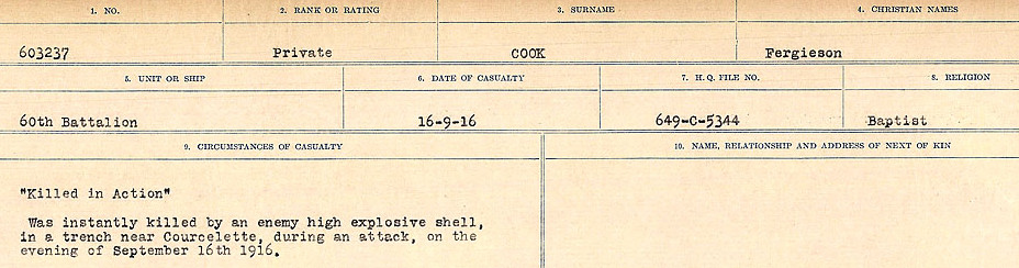 Circumstances of Death– Source: Library and Archives Canada.  CIRCUMSTANCES OF DEATH REGISTERS, FIRST WORLD WAR Surnames:  CONNON TO CORBETT.  Microform Sequence 22; Volume Number 31829_B016731. Reference RG150, 1992-93/314, 166.  Page 213 of 818.
