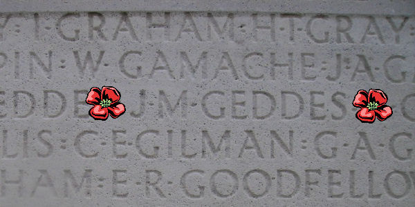 Inscription– Inscription - Vimy Memorial … Private James Murray Geddes is also buried at London Cemetery and Extension, Somme, France ...photo courtesy of Marg Liessens