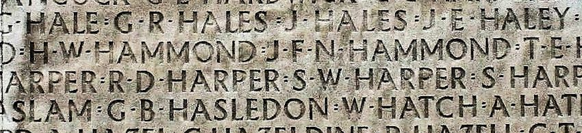 Inscription– His name as it is inscribed on the Vimy Memorial (2010). Over 11,000 fallen Canadians having no known place of burial in France, are honoured on this Memorial. He was discovered and exhumed at a later date and now rests in a marked grave.May they never be forgotten. (J. Stephens)