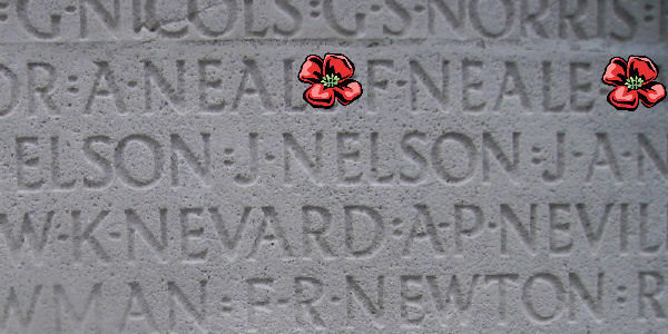 Memorial– Private Frederick Neale is also commemorated on the Vimy Memorial, Pas de Calais, France ,,, Inscription - Vimy Memorial … photo courtesy of Marg Liessens