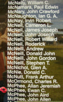 Memorial– Flight Sergeant Ewen Cameron McPhee is also commemorated on the Bomber Command Memorial Wall in Nanton, AB … photo courtesy of Marg Liessens