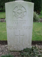 Grave Marker– The war grave of Pilot Officer James Allan Logan in the Commonwealth War Graves Cemetery in Illogan, Cornwall, UK