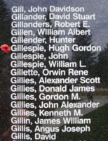 Memorial– Sergeant Hugh Gordon Gillespie is also commemorated on the Bomber Command Memorial Wall in Nanton, AB … photo courtesy of Marg Liessens