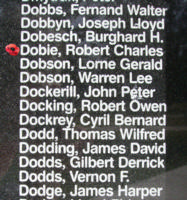 Memorial– Sergeant Robert Charles Dobie is also commemorated on the Bomber Command Memorial Wall in Nanton, AB … photo courtesy of Marg Liessens