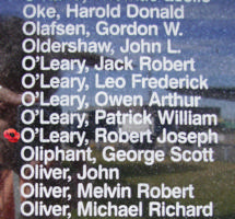 Memorial– Flight Sergeant Robert Joseph O'Leary is commemorated on the Bomber Command Memorial Wall in Nanton, AB … photo courtesy of Marg Liessens