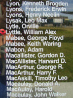 Memorial– Pilot Officer William Alex Lyttle is also commemorated on the Bomber Command Memorial Wall in Nanton, AB … photo courtesy of Marg Liessens
