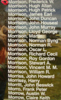 Memorial– Flying Officer Frederick William Morrison is also commemorated on the Bomber Command Memorial Wall in Nanton, AB … photo courtesy of Marg Liessens