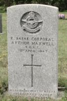 Grave Marker– R. 84848 CORPORAL ARTHUR MAXWELL R.C.A.F. 12th April, 1947 In Loving Memory of a Dear Husband and Father Love Wife and Children