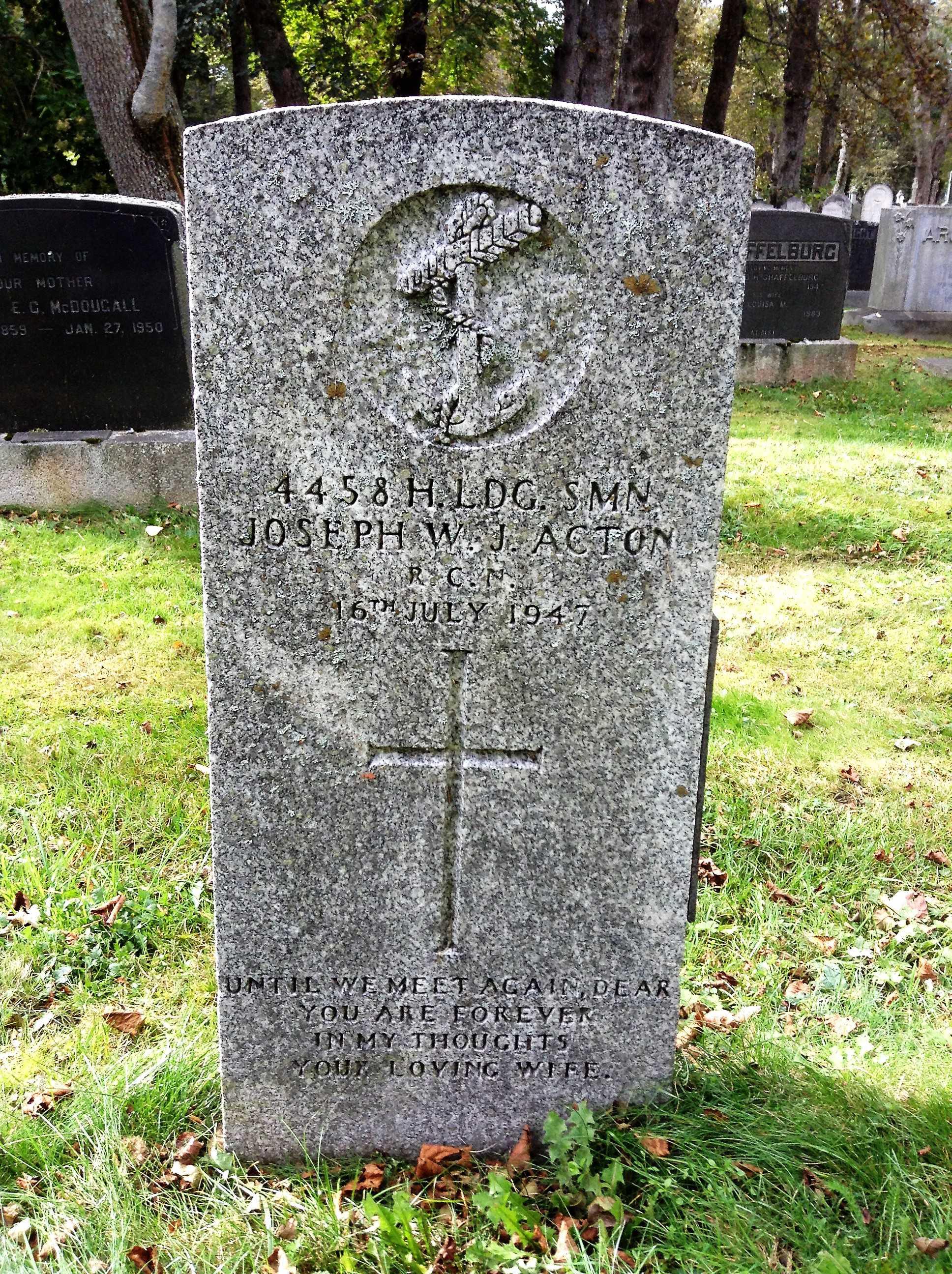 Grave marker for Joseph William John Acton
