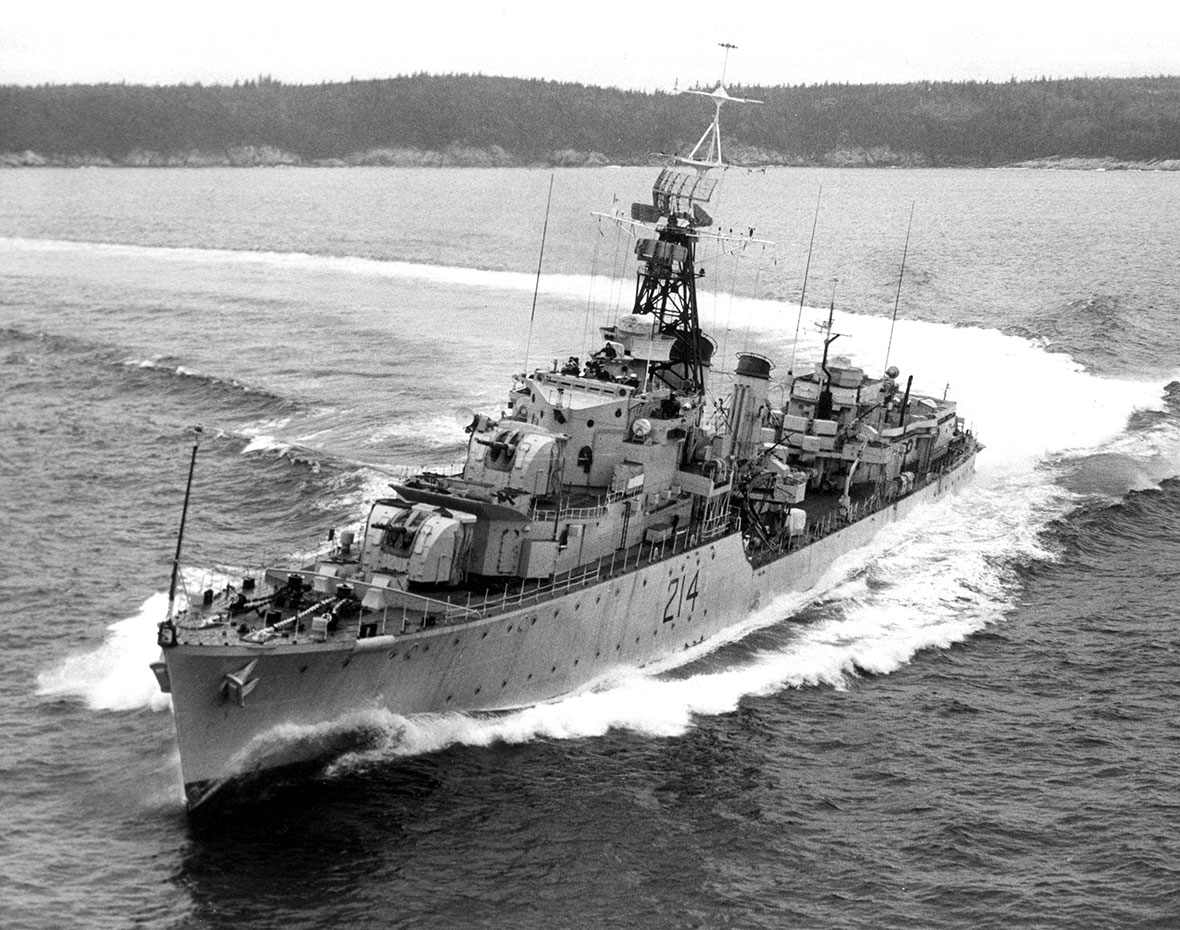 """HMCS Micmac– was a Tribal class destroyer built in Halifax for the Royal Canadian Navy.  The ship was launched 18 September 1943 and commissioned on 12 September 1945. On 16 July 1947 Micmac collided in fog with SS Yarmouth County off Halifax.  The collision caused extensive damage, destroying 45 feet of Micmac's bow.  Leading Seaman Joseph William John Acton was one of 11 sailors killed in the collision""""."""