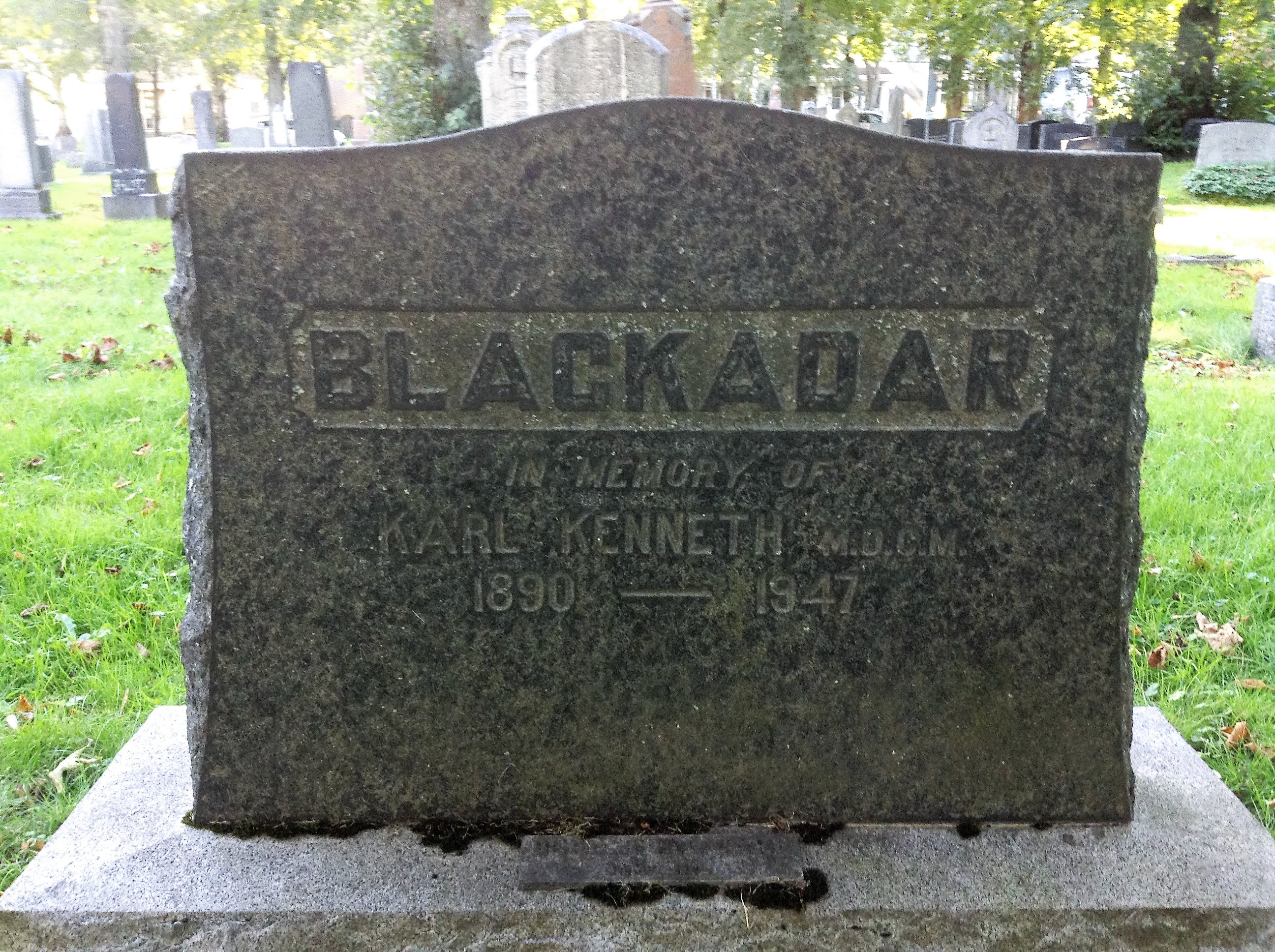 Grave Marker– Grave marker for Karl Kenneth Blackadar at Camp Hill Cemetery in Halifax, Nova Scotia. Image taken 16 October 2017 by Tom Tulloch. Note: this grave marker is actually located in Camp Hill Cemetery Section SS.