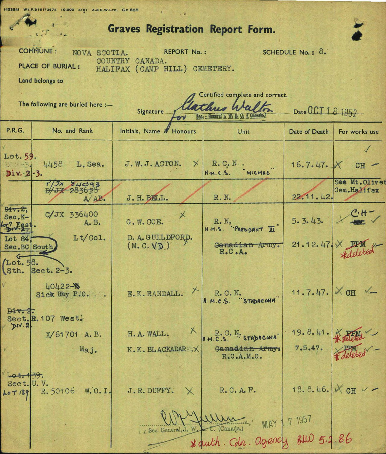 Graves Registration Report– Graves registration report showing burial information for Karl Kenneth Blackadar at Camp Hill Cemetery in Halifax, Nova Scotia.