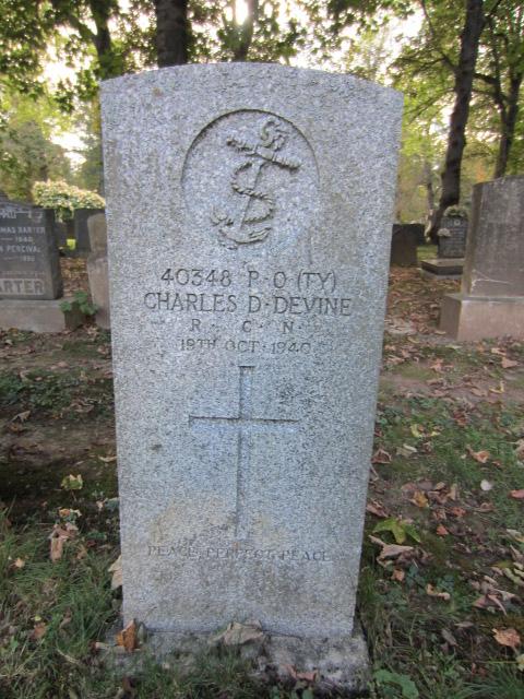 Grave Marker– Grave marker for Charles Daniel Devine at Camp Hill Cemetery, Halifax, Nova Scotia. Image taken 24 September 2016 by Tom Tulloch.