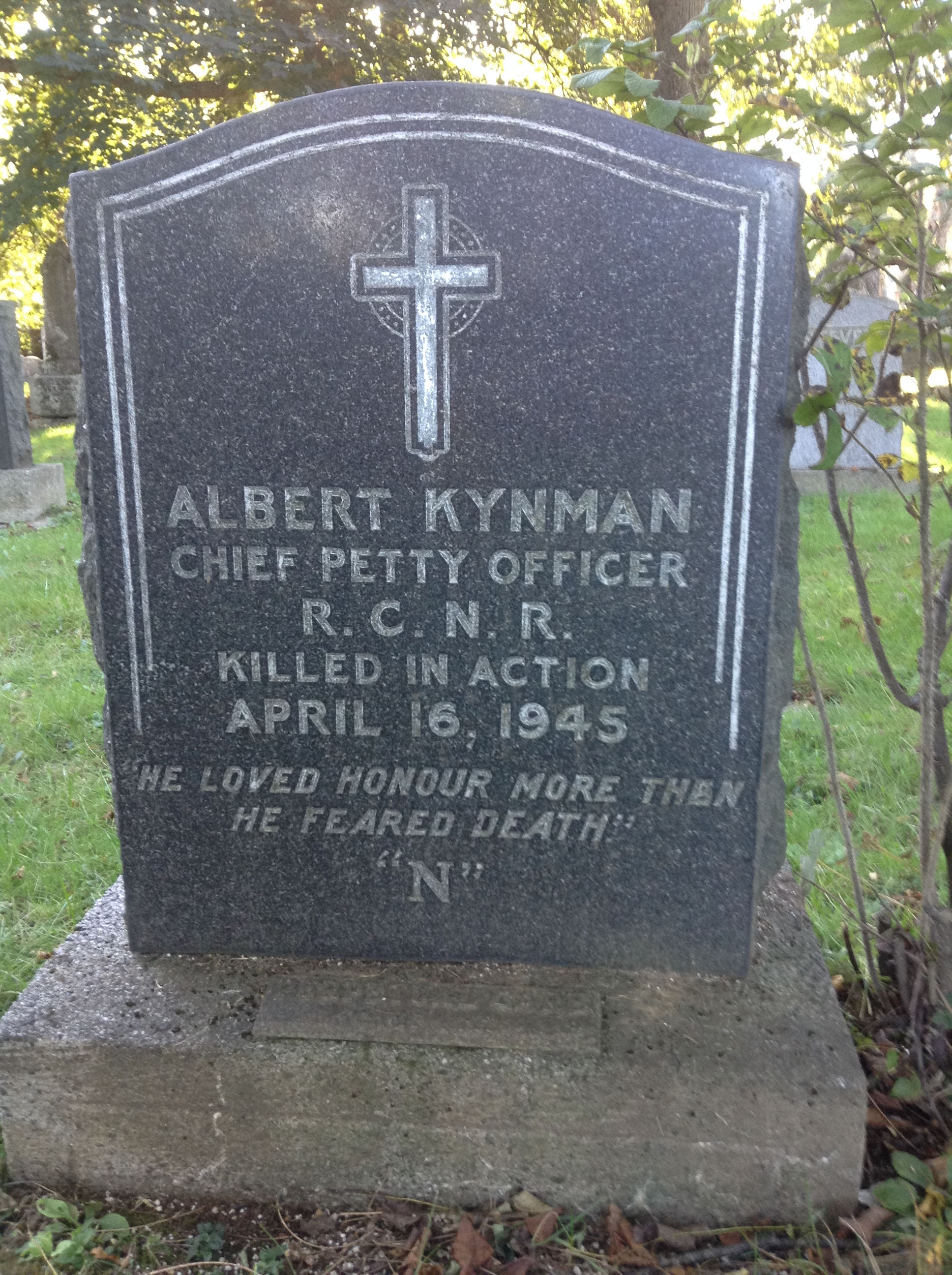 Grave Marker– Grave marker for Chief Petty Officer Albert Kynman at Camp Hill Cemetery in Halifax, Nova Scotia. Image taken 13 October 2017 by Tom Tulloch.