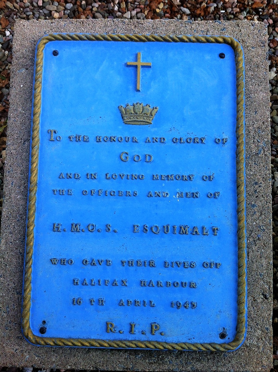 Memorial– The memorial plaque at Canadian Forces Base Halifax to HMCS Esquimalt, the Royal Canadian Navy minesweeper in which Albert Kynman was serving, and who was killed when the ship was sunk by a German U-boat on 16 April 1945 off Halifax.