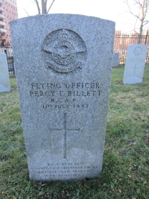 Grave Marker– Grave marker for Percy Thomas Billett at Fort Massey Cemetery, Halifax, Nova Scotia, Canada.