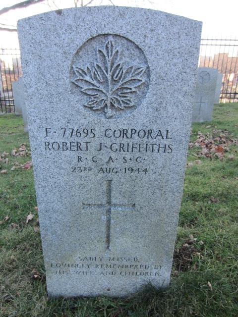 Grave Marker– Grave marker for Robert John Griffiths at Fort Massey Cemetery, Halifax, Nova Scotia, Canada. Image taken 26 December 2015 by Tom Tulloch.