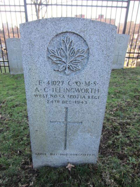 Grave Marker– Grave marker for Arthur Clifford Illingworth at Fort Massey Cemetery, Halifax, Nova Scotia, Canada. Image taken 26 December 2015 by Tom Tulloch.