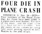 Press clipping– Halifax Mail Newspaper Headlines December 26, 1942