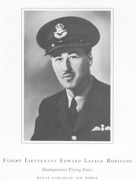 "Photo of EDWARD LAPAGE ROBINSON– Photograph of Flight Lieutenant Edward Robinson from a book called ""Field of Honour"" printed in 1950."