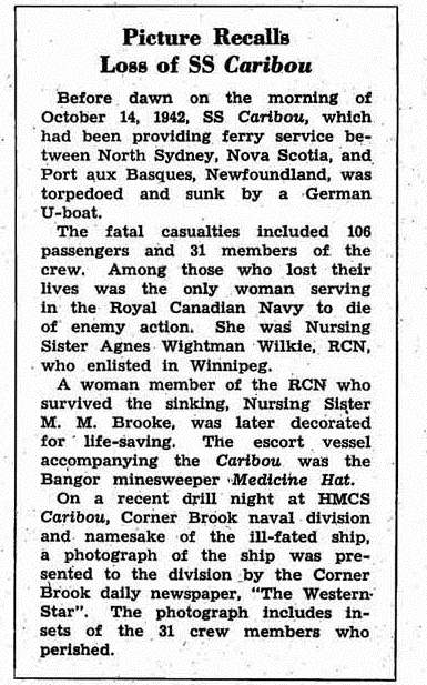 Newspaper Clipping– This item appeared in the March 1954 issue (at page 4) of the Crowsnest, the magazine of the Royal Canadian Navy.  (Submitted by Navy League Cadet Corps CHAMBLY, Barrie, Ontario.)