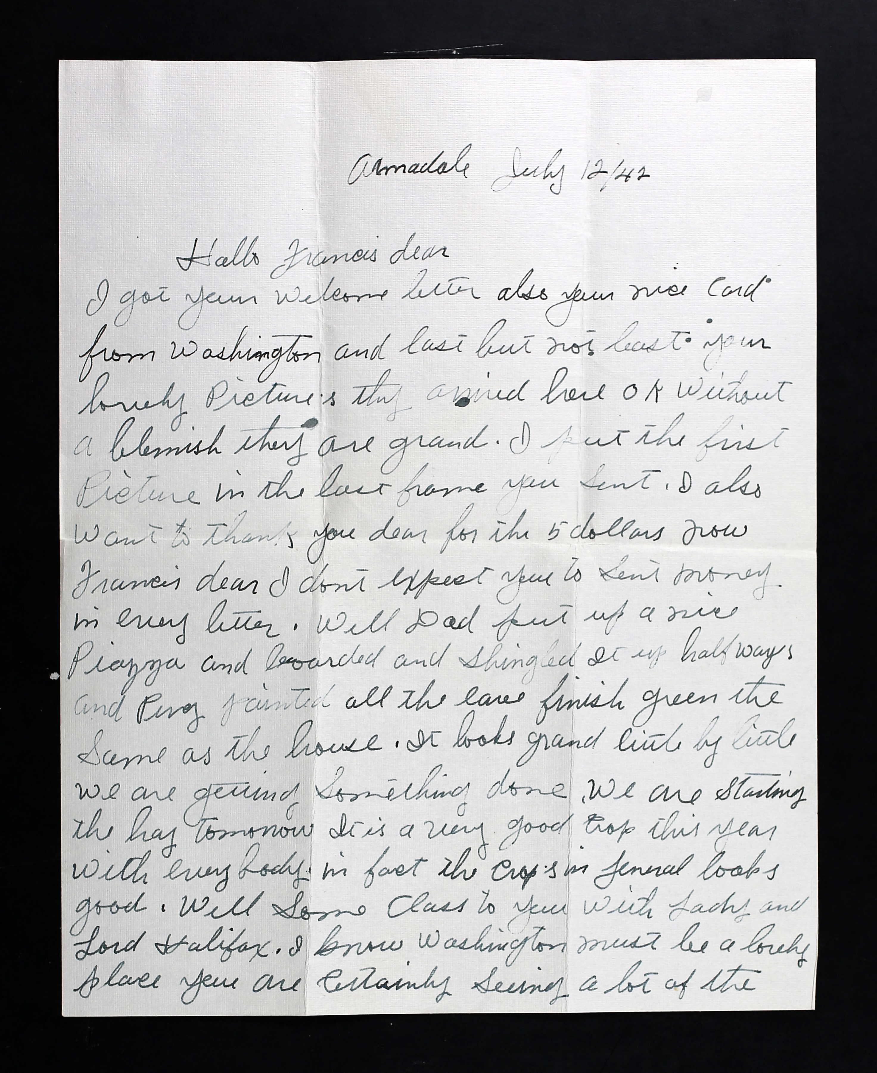 Final Letter to Francis from his mother– The letter was written by his mother on July 12, 1942 and her son never saw it.  He was killed on July 22, 1942.