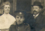 Photo of Leonard Adams– Leonard Adams with his mother and father on his 21st birthday June 11, 1916.