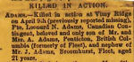 Newspaper clipping– Newspaper clipping listing Leonard Adams as 'killed in action'.