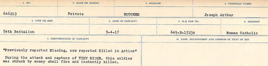 Circumstances of Death Registers– Source: Library and Archives Canada.  CIRCUMSTANCES OF DEATH REGISTERS FIRST WORLD WAR Surnames: Border to Boys. Mircoform Sequence 12; Volume Number 131829_B016721; Reference RG150, 1992-93/314, 156 Page 187 of 934