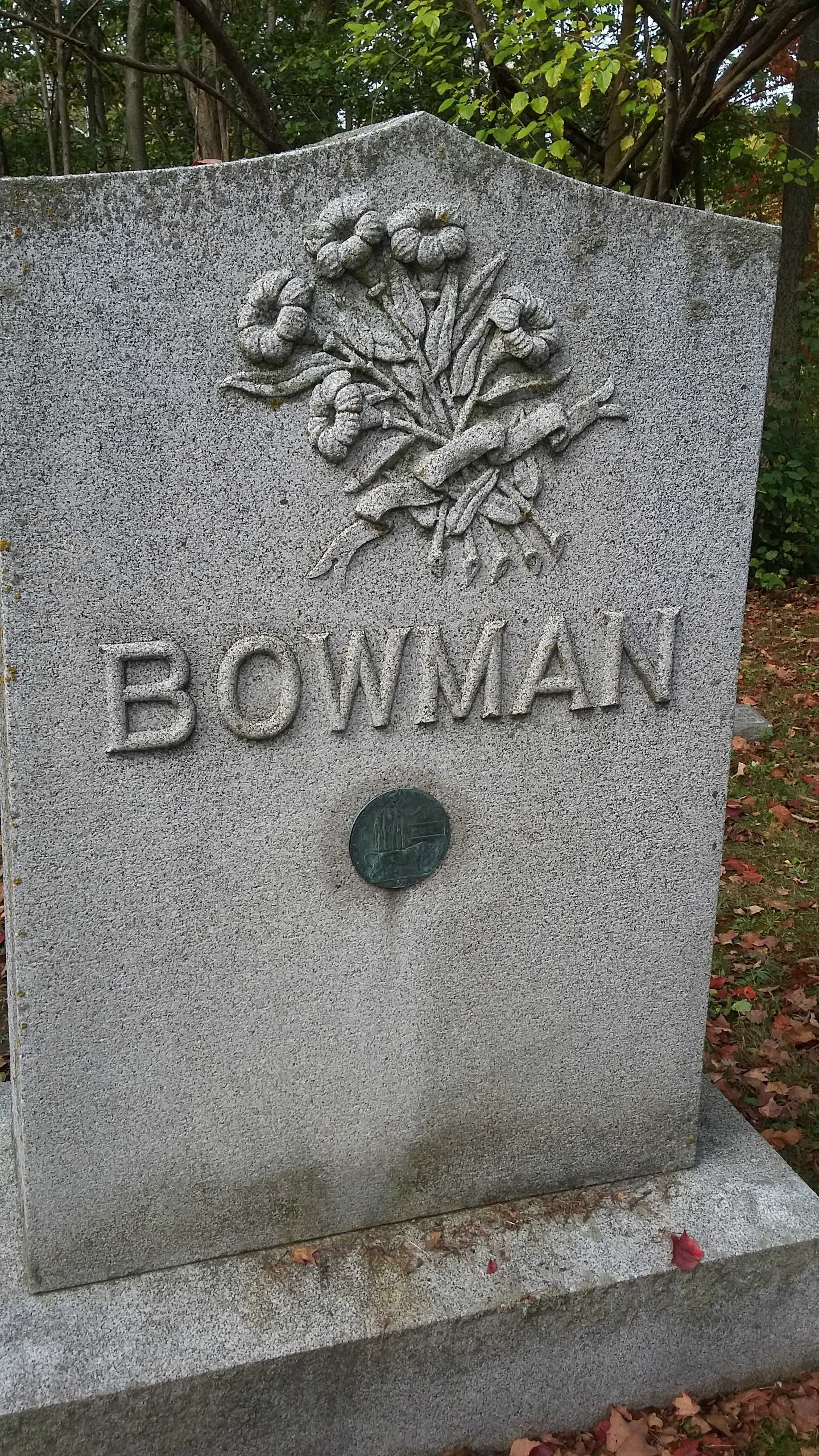 Grave Marker– Photo of memorial stone to Charles Edward Bowman, Ingersoll Rural Cemetery; Bowman Family plot