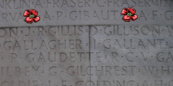 Other– Inscription - Vimy Memorial - Lieutenant Alfred Philip Gibaut is also commemorated on the Vimy Memorial … photo courtesy of Marg Liessens